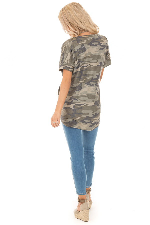 Olive and Sage Camouflage Print Surplice Bubble Hem Top back full body