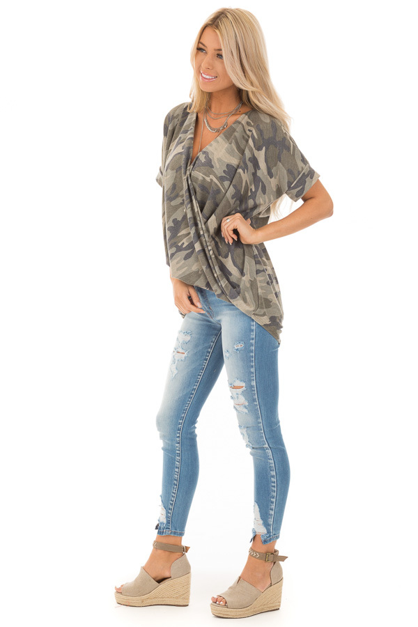 Olive and Sage Camouflage Print Surplice Bubble Hem Top side full body