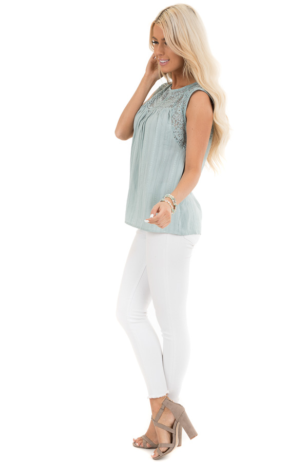 Antique Blue Tank Top with Sheer Floral Lace Details side full body