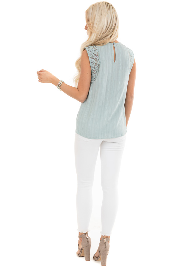 Antique Blue Tank Top with Sheer Floral Lace Details back full body