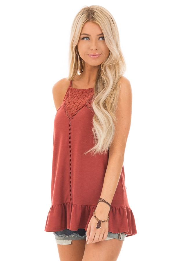 Brick High Neck Tank Top with Ruffle and Lace Details front close up