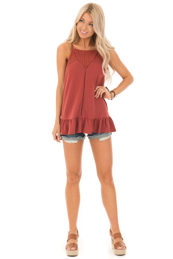 Brick High Neck Tank Top with Ruffle and Lace Details front full body