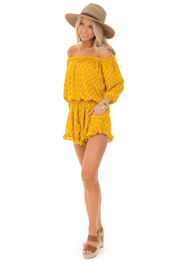 Mustard and Ivory Leaf Print Off the Shoulder Romper front full body