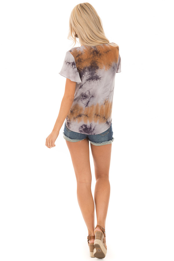 Rust Slate and Charcoal Tie Dye Top with Front Tie Detail back full body