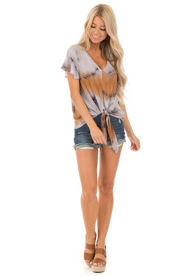Rust Slate and Charcoal Tie Dye Top with Front Tie Detail front full body