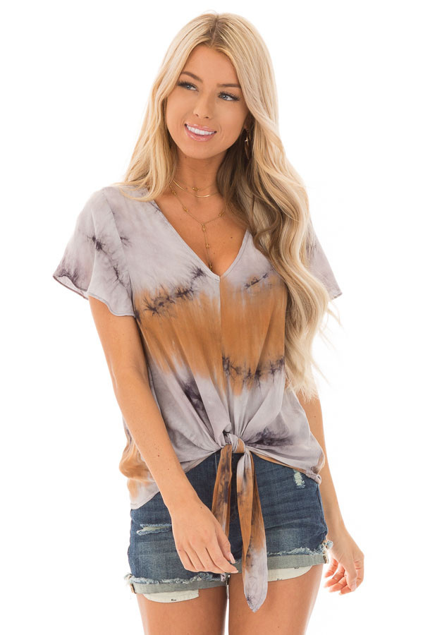 Rust Slate and Charcoal Tie Dye Top with Front Tie Detail front close up