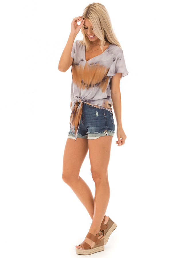 Rust Slate and Charcoal Tie Dye Top with Front Tie Detail side full body
