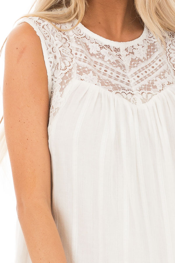 Off White Tank Top with Sheer Floral Lace Details detail