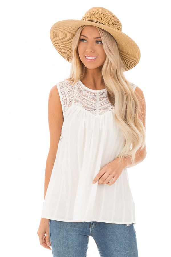 ed1d0e57b73 Off White Tank Top with Sheer Floral Lace Details - Lime Lush Boutique