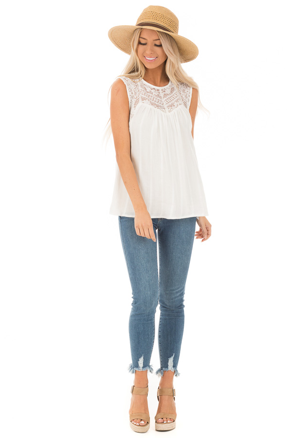 Off White Tank Top with Sheer Floral Lace Details front full body