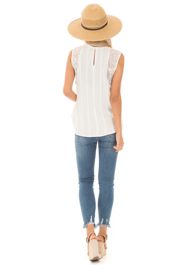Off White Tank Top with Sheer Floral Lace Details back full body