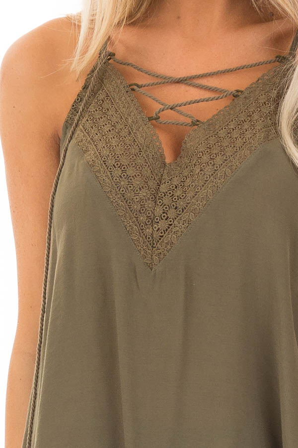 Army Green Lace Up Tank Top with Crochet Detail and Tie detail