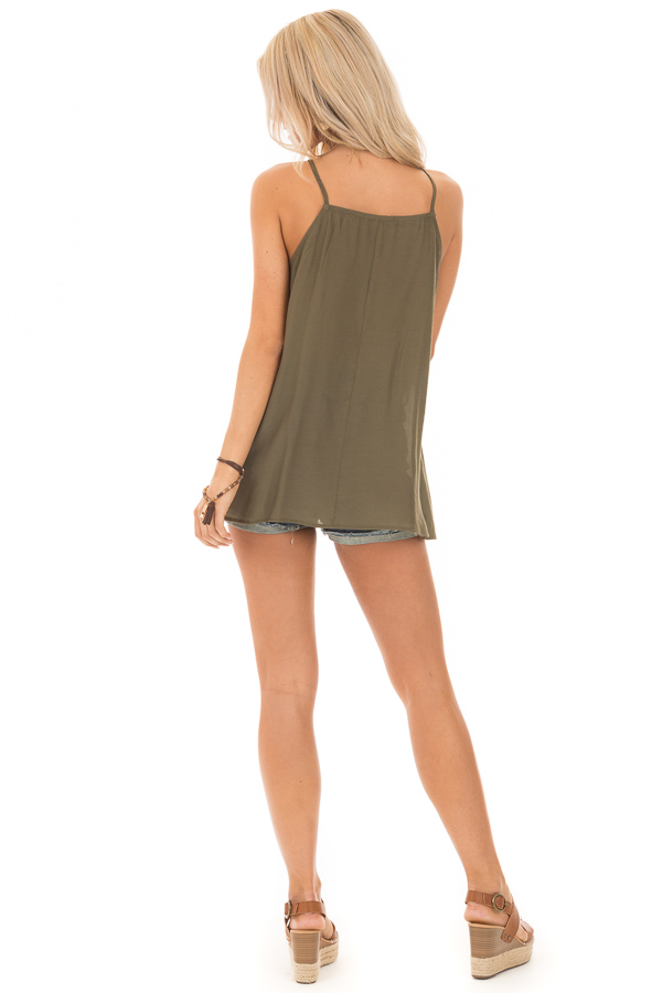 Army Green Lace Up Tank Top with Crochet Detail and Tie back full body
