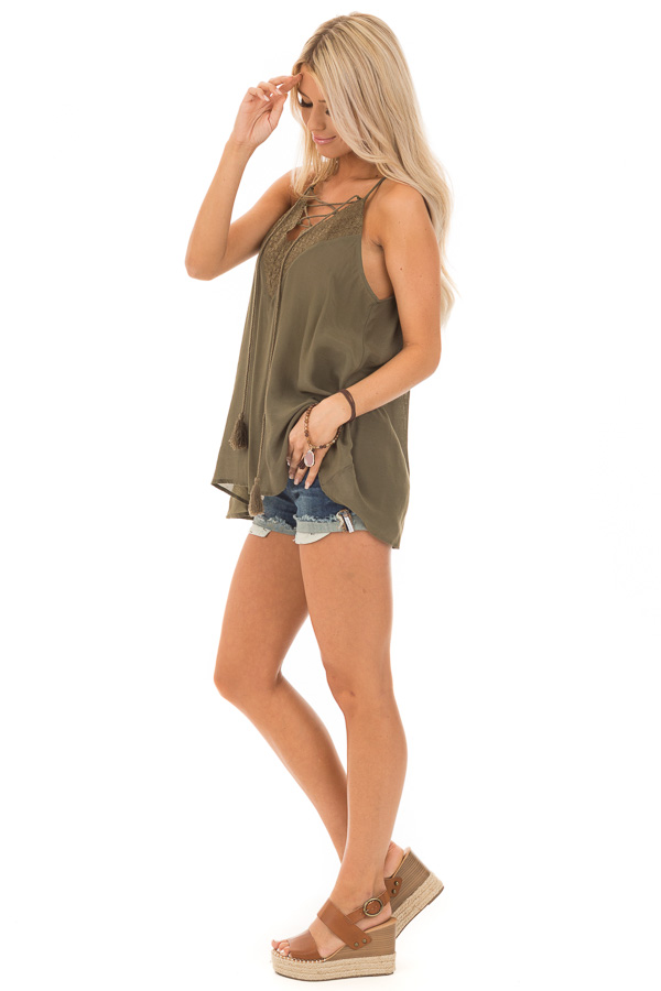 Army Green Lace Up Tank Top with Crochet Detail and Tie side full body