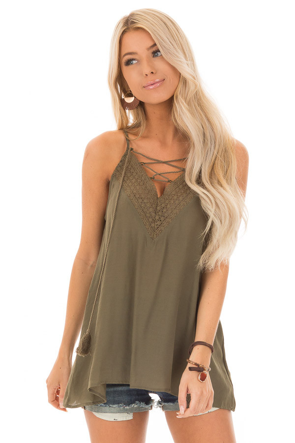 Army Green Lace Up Tank Top with Crochet Detail and Tie front close up