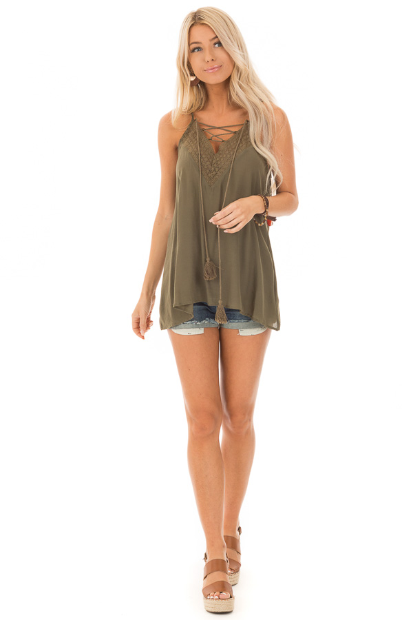 Army Green Lace Up Tank Top with Crochet Detail and Tie front full body