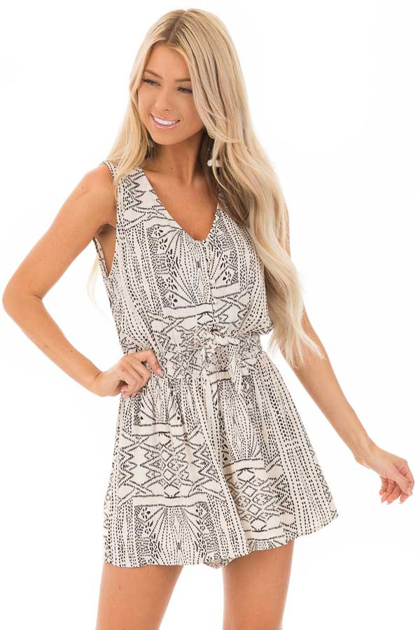 Cream and Black Tribal Print Button Up Romper with Front Tie front close up