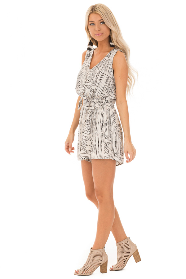 Cream and Black Tribal Print Button Up Romper with Front Tie side full body