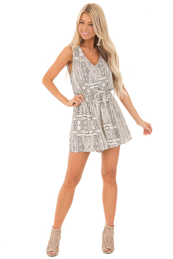 Cream and Black Tribal Print Button Up Romper with Front Tie front full body