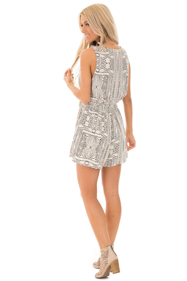 Cream and Black Tribal Print Button Up Romper with Front Tie back full body