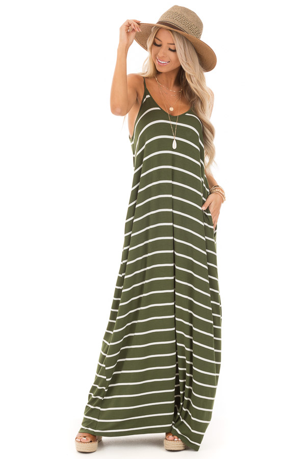Army Green Striped V Neck Maxi Dress with Side Pockets front full body