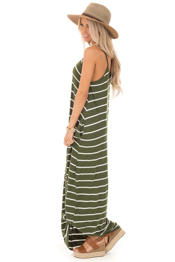 Army Green Striped V Neck Maxi Dress with Side Pockets side full body