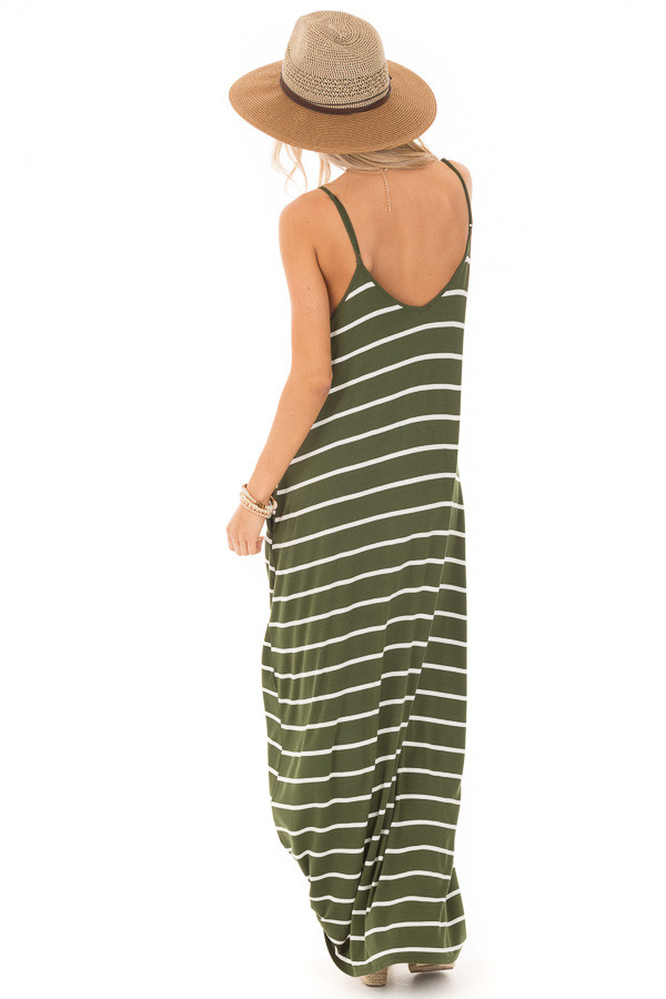 Army Green Striped V Neck Maxi Dress with Side Pockets back full body