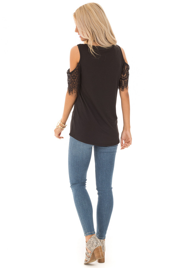 Raven Cold Shoulder Top with Lace Contrast Short Sleeve back full body