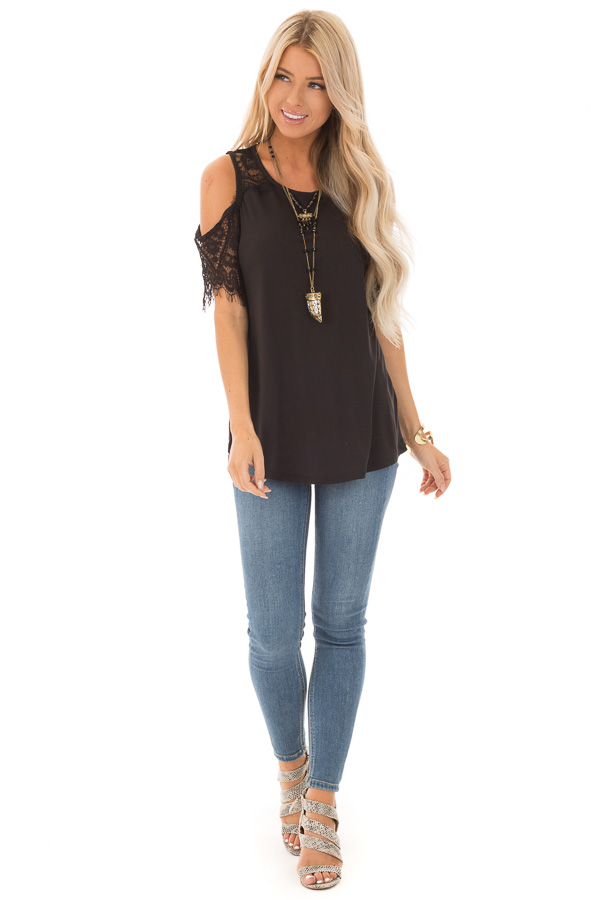 Raven Cold Shoulder Top with Lace Contrast Short Sleeve front full body