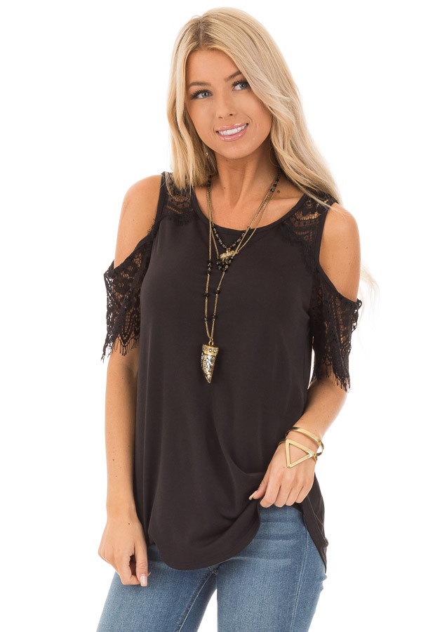 Raven Cold Shoulder Top with Lace Contrast Short Sleeve front close up