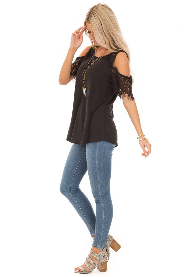 Raven Cold Shoulder Top with Lace Contrast Short Sleeve side full body