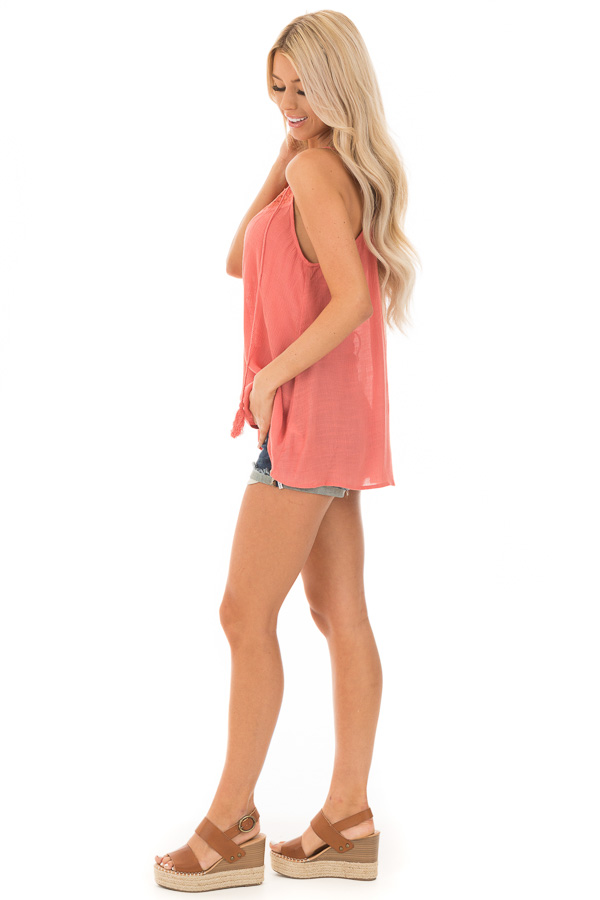 Crabapple Lace Up Tank Top with Crochet Detail and Tie side full body