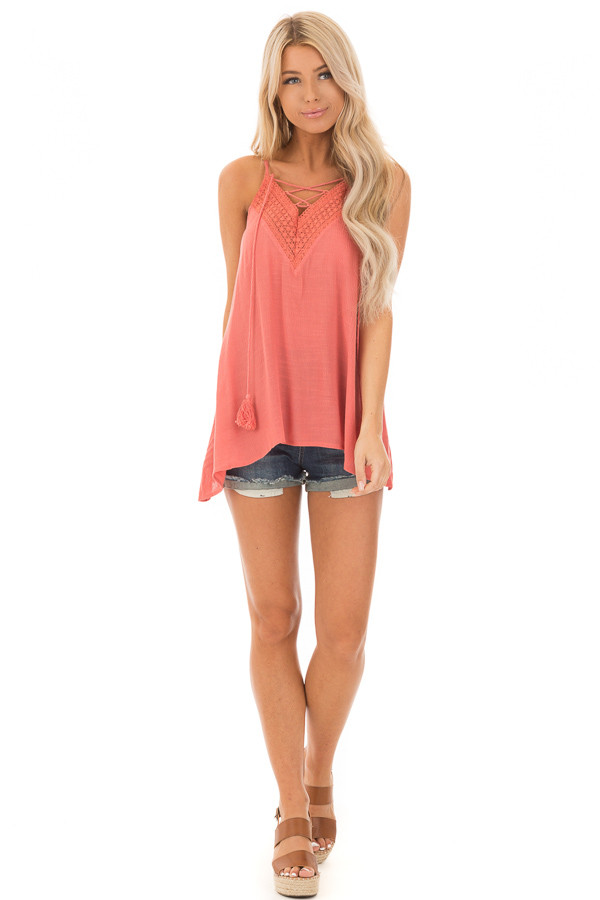 Crabapple Lace Up Tank Top with Crochet Detail and Tie front full body