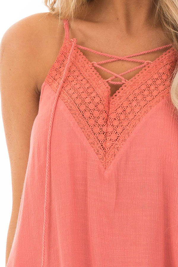 Crabapple Lace Up Tank Top with Crochet Detail and Tie detail