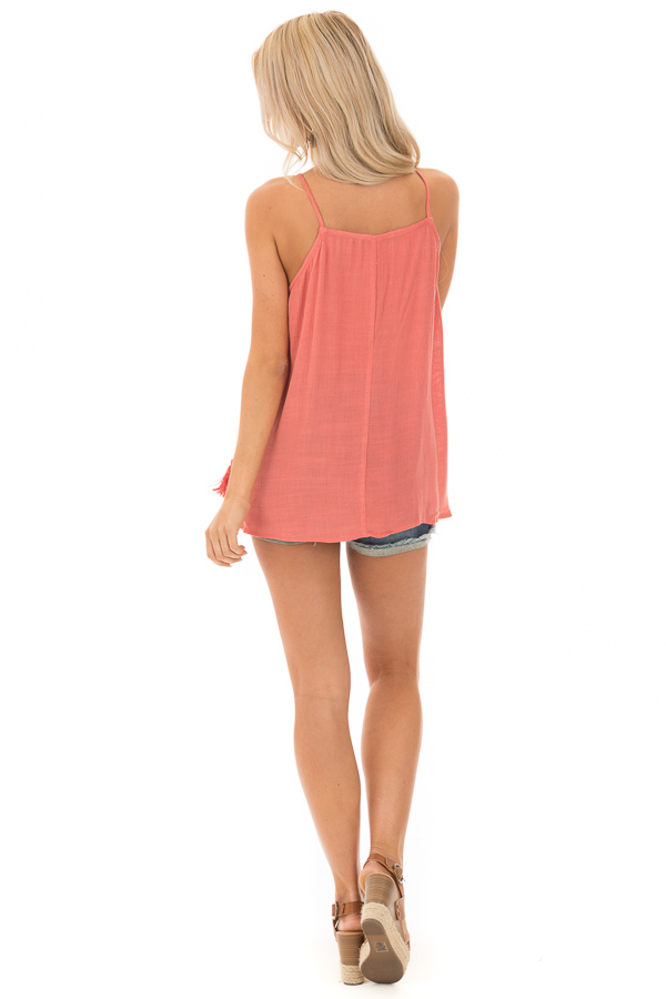 Crabapple Lace Up Tank Top with Crochet Detail and Tie back full body