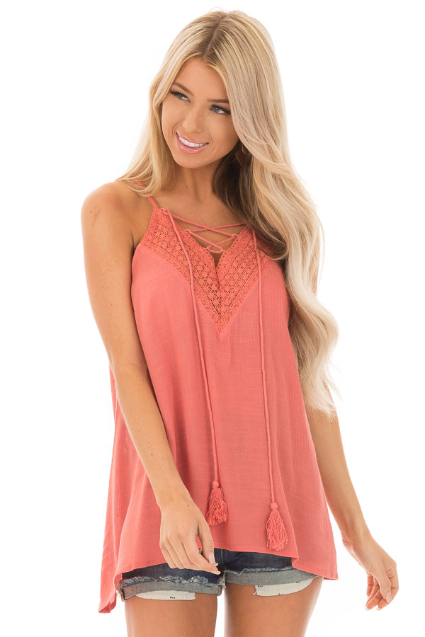 Crabapple Lace Up Tank Top with Crochet Detail and Tie front close up