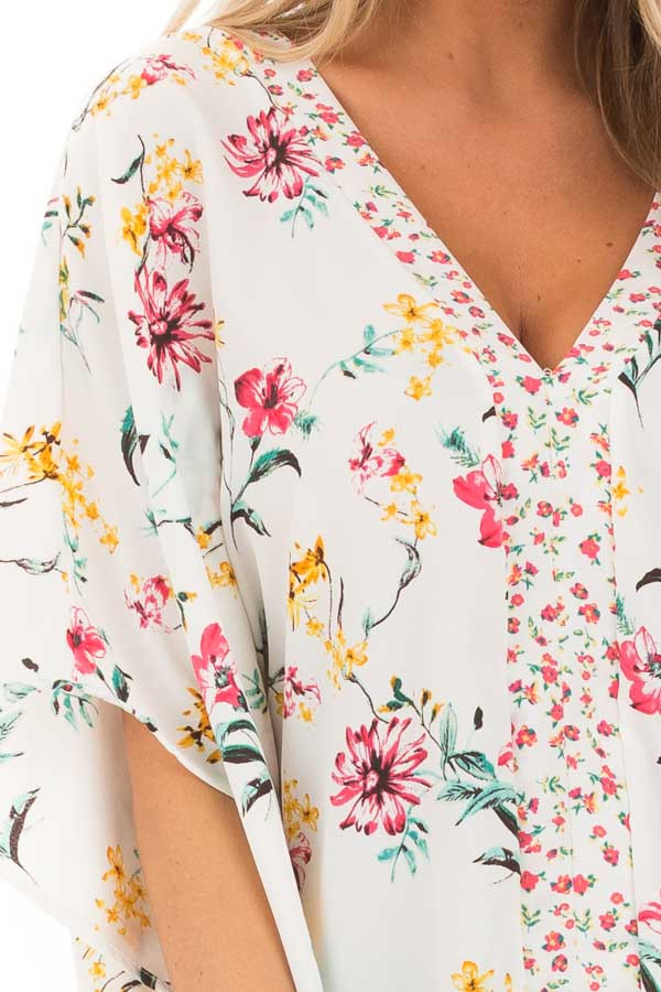 Daisy White Floral V Neck Top with Dolman Sleeves detail