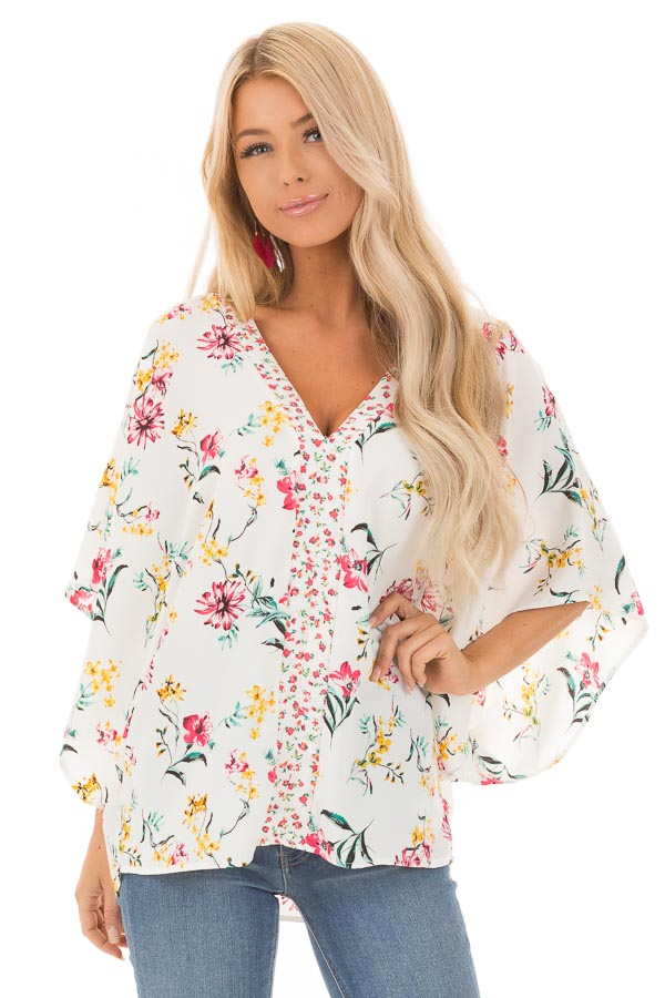 Daisy White Floral V Neck Top with Dolman Sleeves front close up