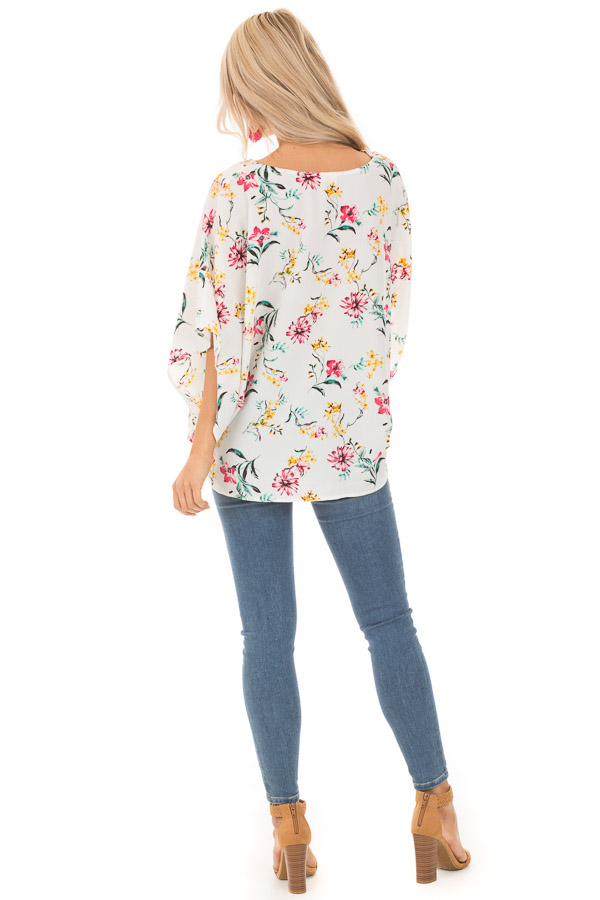 Daisy White Floral V Neck Top with Dolman Sleeves back full body
