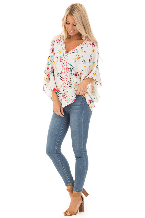 Daisy White Floral V Neck Top with Dolman Sleeves front full body