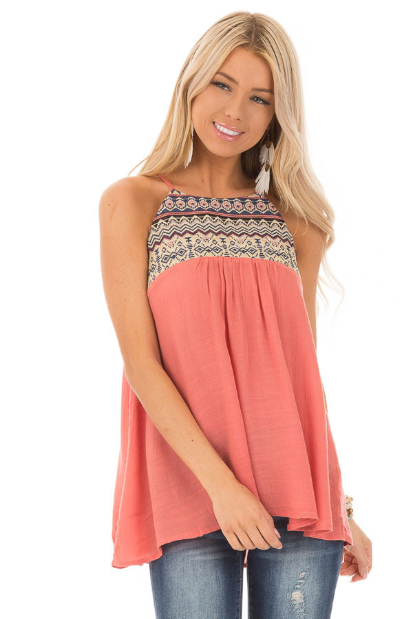 Dark Coral Embroidered Tank Top with Back Keyhole front close up