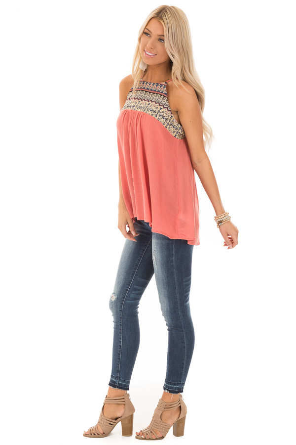 Dark Coral Embroidered Tank Top with Back Keyhole side full body
