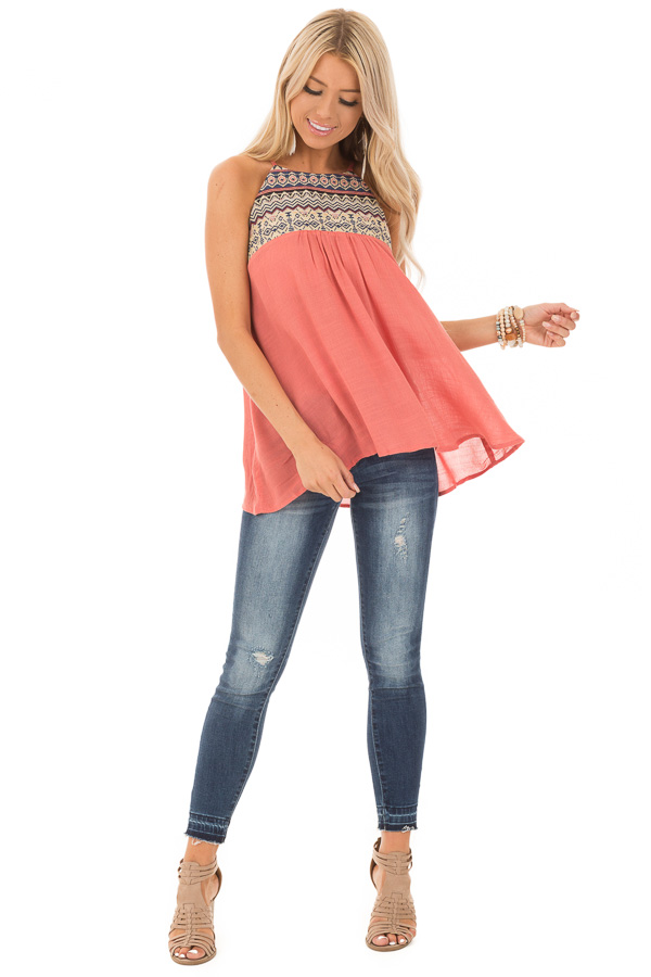 Dark Coral Embroidered Tank Top with Back Keyhole front full body