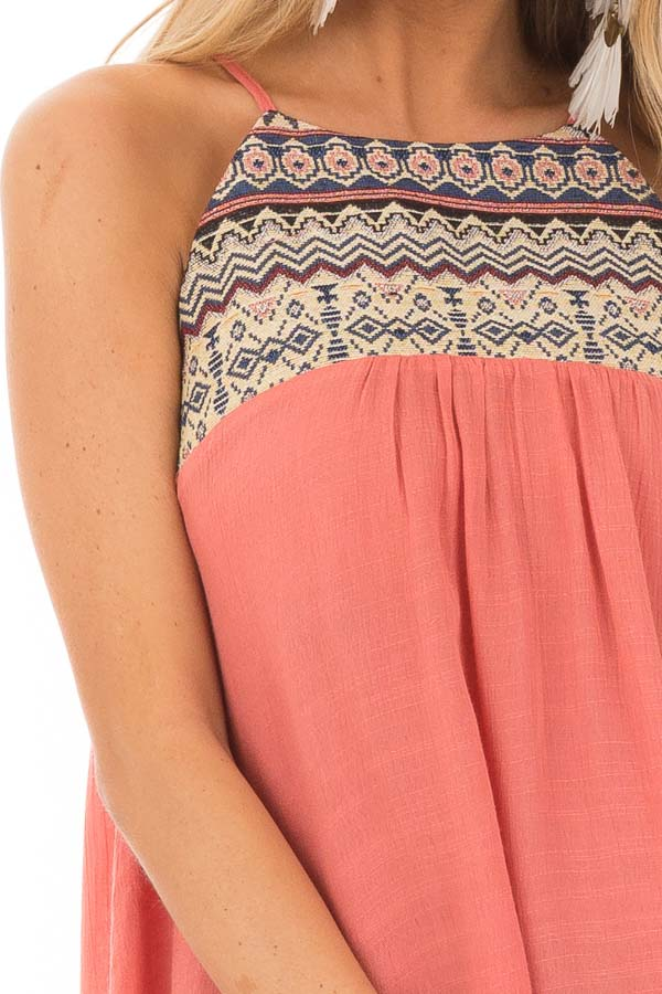 Dark Coral Embroidered Tank Top with Back Keyhole detail