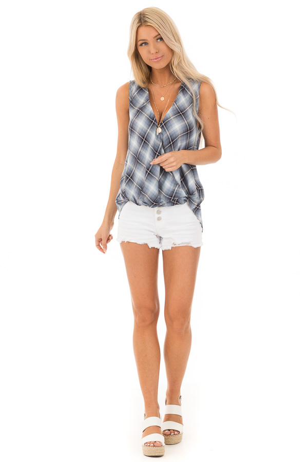 Steel Blue and Off White Plaid Surplice V Neck Tank Top front full body