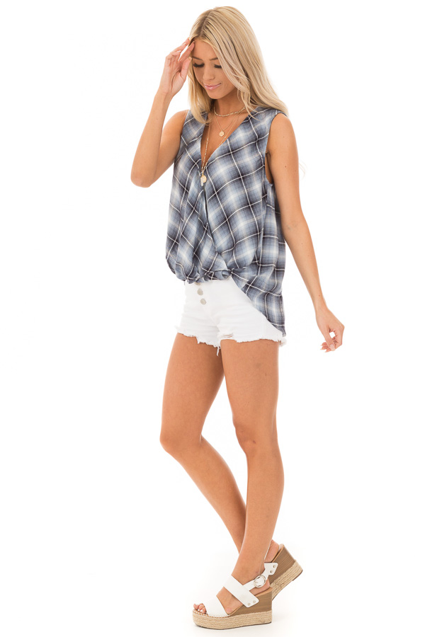 Steel Blue and Off White Plaid Surplice V Neck Tank Top side full body
