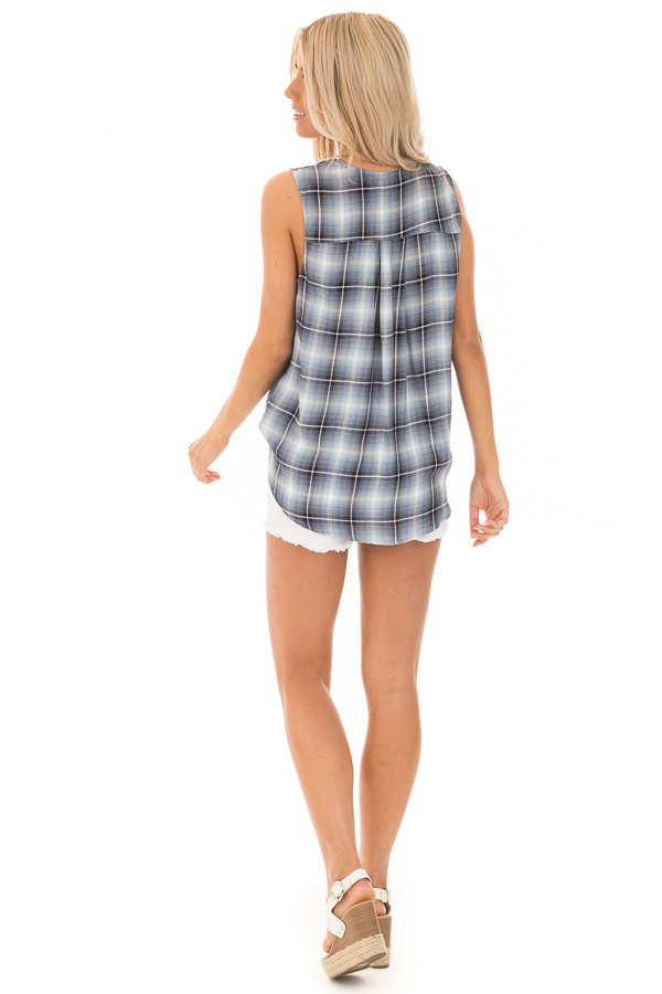 Steel Blue and Off White Plaid Surplice V Neck Tank Top back full body