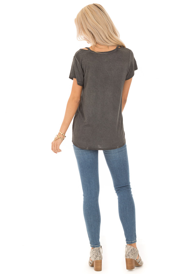 Charcoal Washed Short Sleeve Tee with Shoulder Cutouts back full body
