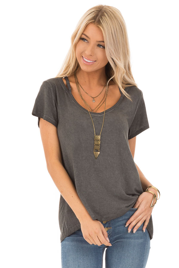 Charcoal Washed Short Sleeve Tee with Shoulder Cutouts front close up