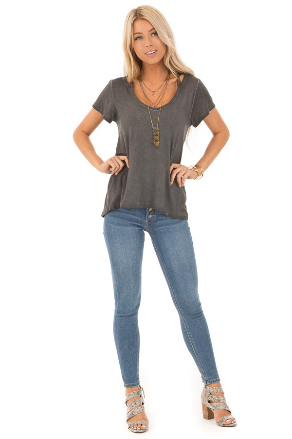 Charcoal Washed Short Sleeve Tee with Shoulder Cutouts front full body